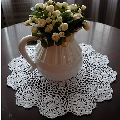 100% Cotton Round Placemat Solid Colored Floral Table Decorations
