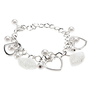 Dame Perle Hjerte Charm-armbånd - Kærlighed Hjerte LOVE Sølv Armbånd Til Julegaver Bryllup