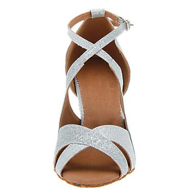 baratos Sapatos de Salsa-Mulheres Sapatos de Dança Glitter Sapatos de Dança Latina / Sapatos de Salsa Presilha Salto Salto Personalizado Personalizável Preto / Dourado / Prata / Couro / EU40