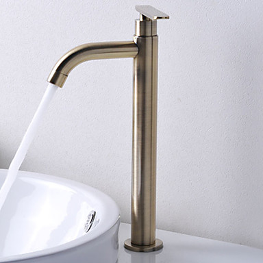 Contemporary Centerset Ceramic Valve One Hole Single Handle One Hole Antique Bronze, Bathroom Sink Faucet