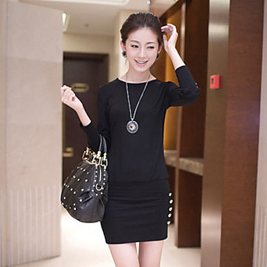 Mini Dress, Solid Round Neck Long Sleeves