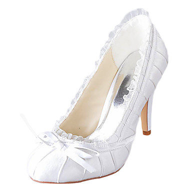 Women's Spring / Summer / Fall Heels Satin / Stretch Satin Wedding Stiletto Heel Ruched Ivory / White