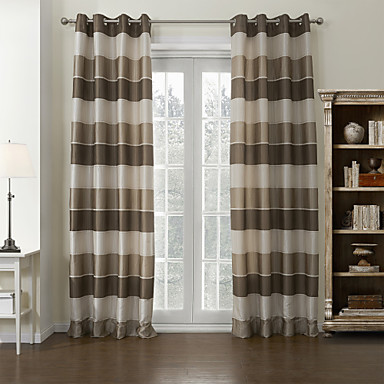Mediterranean Two Panels Stripe Brown Living Room Poly Cotton Blend Panel Curtains Drapes