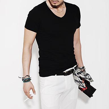 Herren V-Neck Cotton Blend Short Sleeve Länge Freizeit Sport T-Shirt (schwarz)