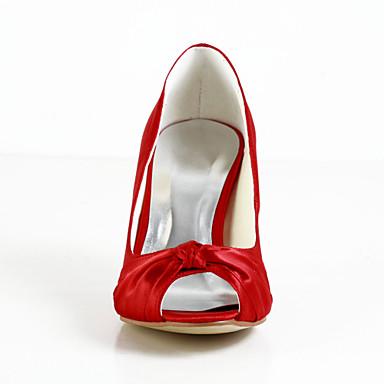 Pentru femei Pantofi Satin / Satin Elastic Primăvară / Vară Toc Stilat Roz / Maro deschis / Cristal / Nuntă