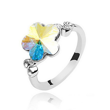 Unique Alloy With Crystal Plum Blossom Shaped Ring(More Colors)