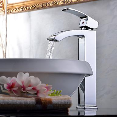 Σύγχρονο Δοχείο Καταρράκτης Κεραμική Βαλβίδα Μία Οπή Ενιαία Χειριστείτε μια τρύπα Χρώμιο, Μπάνιο βρύση νεροχύτη