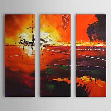 Handgemalte Landschaft Horizontal Segeltuch Hang-Ölgemälde Haus Dekoration Drei Paneele