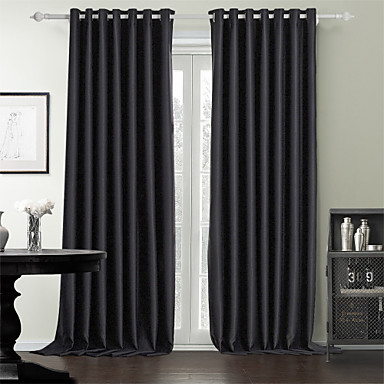 Curtains Drapes Bedroom Solid Colored 100% Polyester Polyester Print