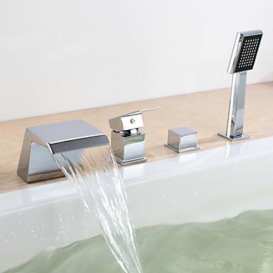 Badewannenarmaturen - Moderne Chrom Wandmontage Keramisches Ventil / Zwei Griffe Vier Löcher