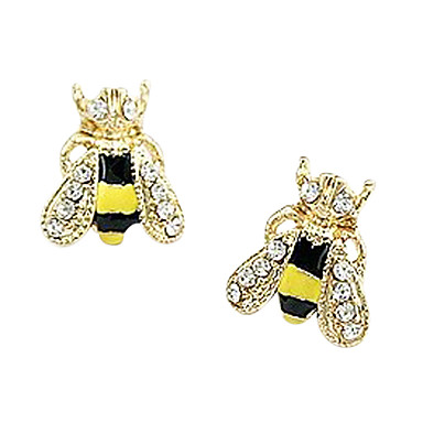 Women's Rhinestone Gold Plated Imitation Diamond Ear Piercing Stud Earrings - Luxury Cute Style Fashion Yellow Animal Earrings For