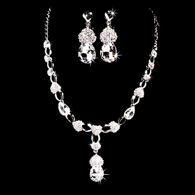 Women's Cubic Zirconia Rhinestone Wedding Party Special Occasion Anniversary Birthday Engagement Gift Alloy Earrings Necklaces