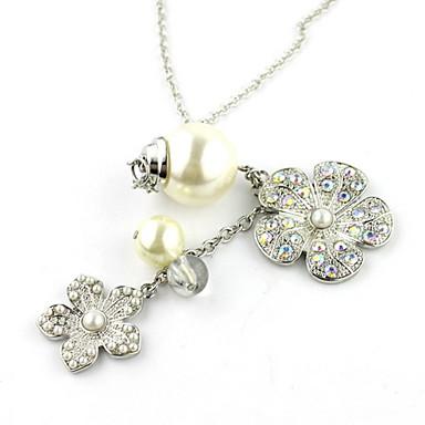 Nádherná slitina s drahokamu a imitace Pearl žen náhrdelník