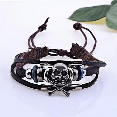 voordelige Herensieraden-Dames Bedelarmbanden Lederen armbanden geweven Schedel Piraten Halloween Leder Armband sieraden Bruin Voor Kerstcadeaus Bruiloft