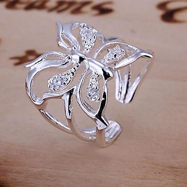 billige Motering-Dame Syntetisk Diamant Forlovelsesring tommelfingerring Sommerfugl Dyr damer Luksus Åpne Krystall Motering Smykker Sølv Til Bryllup Daglig Justerbar