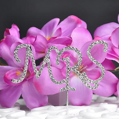 billige Kakedekorasjoner-kake topper monogram bryllup med rhinestone bryllup mottak