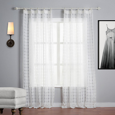 Two Panels Curtain Mediterranean , Plaid/Check Polyester Material Sheer Curtains Shades Home Decoration For Window