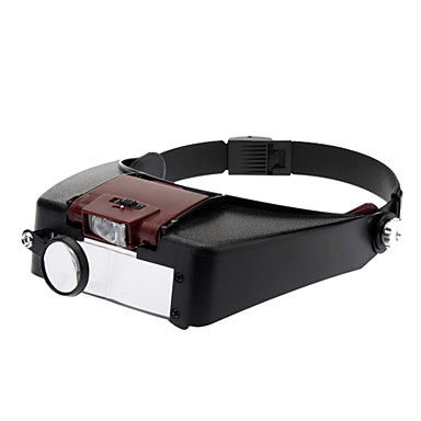 Practical Resin Material Headband Magnifier with LED Light (81007-A) - Black&Red