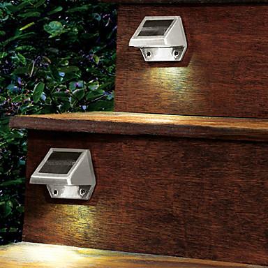 Açık Güneş 4-LED Beyaz Işık Duvar Merdiven Yard Bahçe Çit Spot Işık Ampul Powered LED