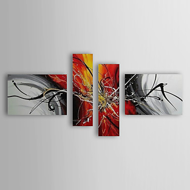 Handgemalte Abstrakt jede Form Segeltuch Hang-Ölgemälde Haus Dekoration Vier Panele