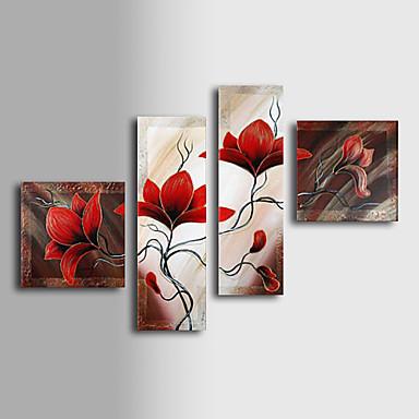 Dipinta a mano Floreale/Botanical ogni Forma Tela Hang-Dipinto ad olio Decorazioni per la casa Quattro Pannelli