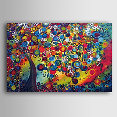 Pintura a Óleo Pintados à mão - Paisagem Contemprâneo Tela de pintura