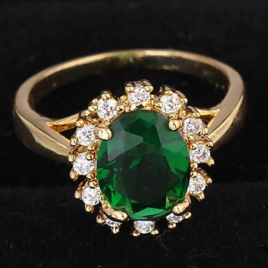 Χαμηλού Κόστους Μοδάτο Δαχτυλίδι-Γυναικεία Δακτύλιος Δήλωσης Δαχτυλίδι αρραβώνων Πασιέντζα Σύμπλεγμα Στρόγγυλα Love Δαχτυλίδι κοκτέιλ κυρίες Πολυτέλεια Καθημερινό Ζιρκονίτης Επιχρυσωμένο Μοδάτο Δαχτυλίδι Κοσμήματα Σκούρο πράσινο Για