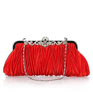 Women's Bags Polyester Evening Bag Crystal/ Rhinestone for Wedding Event/Party Formal Office & Career All Seasons Fuchsia Brown Red Pink