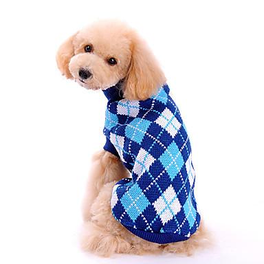 Perro Suéteres Ropa para Perro Ajedrez Azul Tejido de lana Disfraz Para Primavera & Otoño Invierno Hombre Mujer Clásico Moda