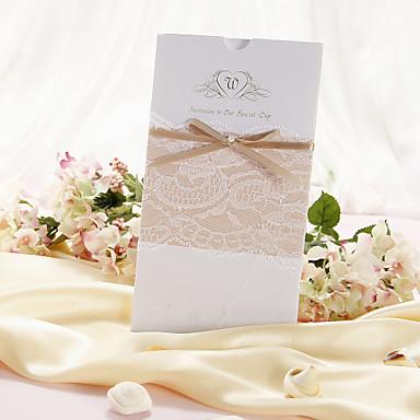 Şal ve Cep Düğün Davetiyeleri Davet Kartları Klasik Stil İnci Kağıdı 21.5*11.5cm İnci Papyonlar