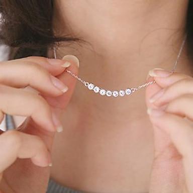 abordables Collier-Collier Pendentif Femme Flottant Cristal Cristal Argent Pas cher dames Mode Dubai Small Argent Colliers Tendance Bijoux pour Soirée Quotidien Décontracté