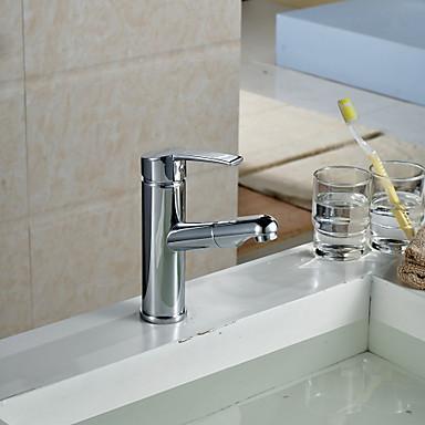 Contemporary Centerset Pullout Spray Ceramic Valve Single Handle One Hole Chrome, Bathroom Sink Faucet