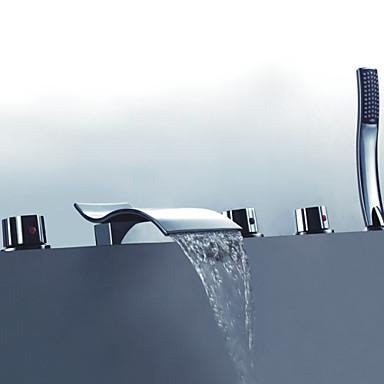 Küvet Muslukları - El Duşu Dahil Krom Küvet ve Duş Üç Kolları Beş Delik