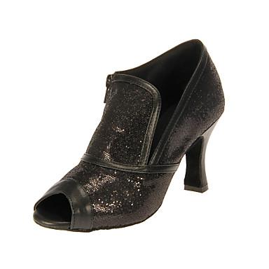 Women's Latin Ballroom Sparkling Glitter Heel Customized Heel Black Customizable