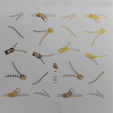 1PCS Golden Zipper Pattern Water Transfer Printing Colorful Nail Sticker