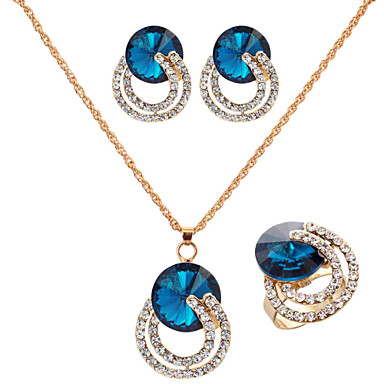 Jewelry Set Women's Wedding / Engagement / Birthday Jewelry Sets Alloy Sapphire / Rhinestone Necklaces / Earrings Gold