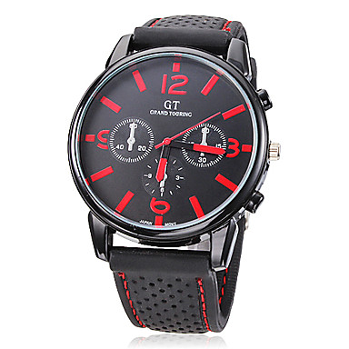 Men's Wrist watch Quartz Casual Watch Silicone Band Charm Black