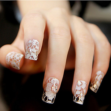 12 pcs Lace Sticker / 3D Nail Stickers Blomst / Bryllup / Mode Smuk Daglig Nail Art Design / ABS