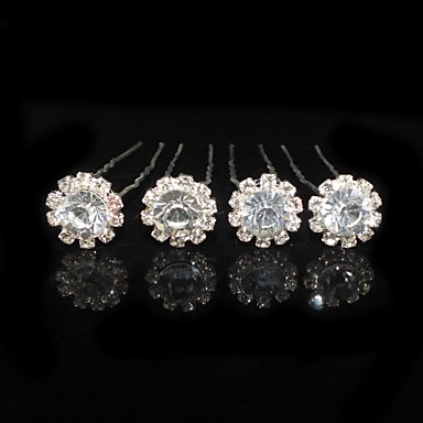 Fine Four Pieces Alloy Flower Shape Wedding Bridal Hairpins With Rhinestones
