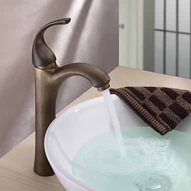 Antique Vessel Ceramic Valve One Hole Single Handle One Hole Antique Brass, Bathroom Sink Faucet