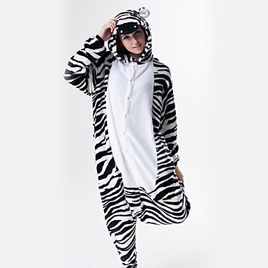 7737c878ca Adults  Kigurumi Pajamas Zebra Onesie Pajamas Flannel Toison Black   White  Cosplay For Men and