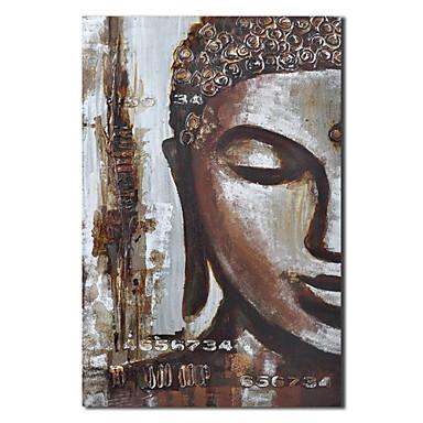 Pictate manual pictură în ulei oamenii se confruntă de Buddha cu cadru întins