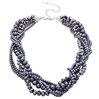 Damen Kristall Perle Halsketten Perlenkette  -  Schwarz Modische Halsketten Für Party Alltag
