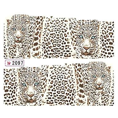 1x10PCS Leopard Pattern Water Transfer Print Nail Art Sticker Decal