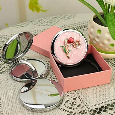 Personalisierte Geschenke Blossom Art-Rosa Chrome Taschenspiegel