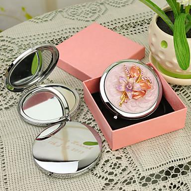 Personalisierte Geschenke Floral-Art-Rosa Chrome Taschenspiegel