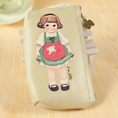 Cartoon Doll model PU piele Schimba portmoneu (kaki, 1 buc)