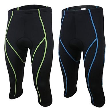 Arsuxeo Bărbați Colanți Cycling 3/4 - Verde Albastru Bicicletă Dresuri Ciclism, Uscare rapidă, Design Anatomic, Respirabil, Dungi