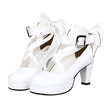 Schuhe Klassische/Traditionelle Lolita Prinzessin Stöckelschuh Schuhe Schleife 7 CM Für PU - Leder/Polyurethan Leder