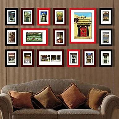 Black Red Mješoviti boja Slika Zid Frame kolekcija Set od 16